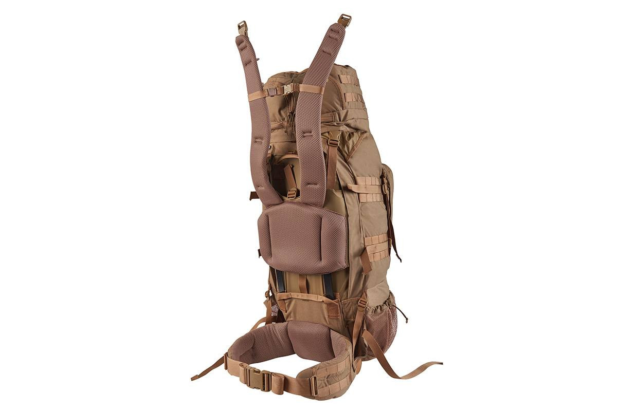 Kelty Eagle Backpack, Coyote Brown, rear view, showing padded shoulder straps detached from the body of pack
