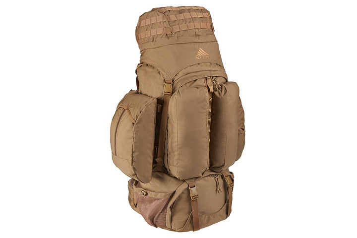 Kelty Eagle Backpack, Coyote Brown, with lid fully packed and removable side pocket attached