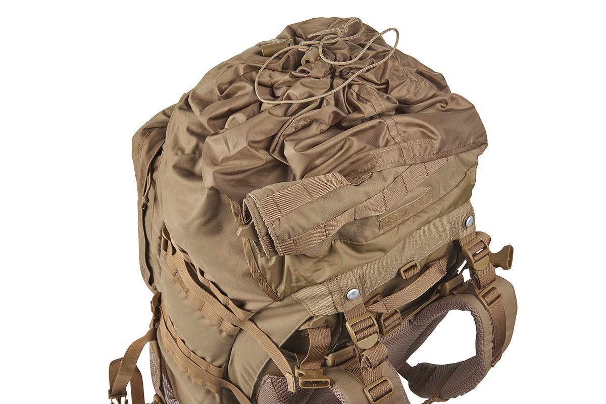 Kelty Eagle Backpack, Coyote Brown, top view, showing drawstring top fully closed
