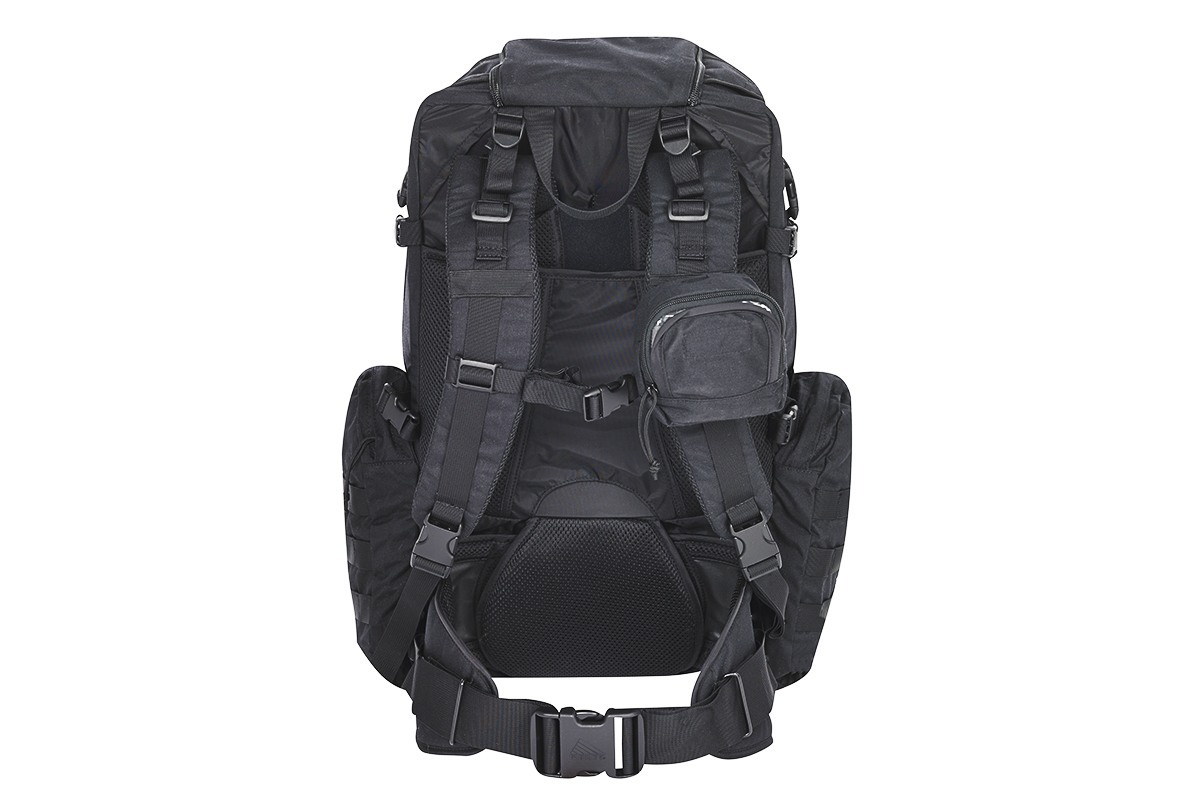 Kelty Raven 2500 backpack, black, rear view, showing padded shoulder straps and waist strap