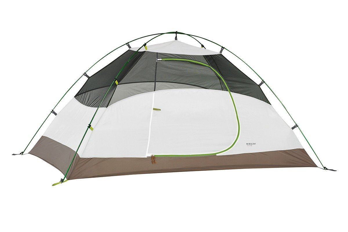 Kelty Salida 2 person tent, white/tan, shown with rain fly removed