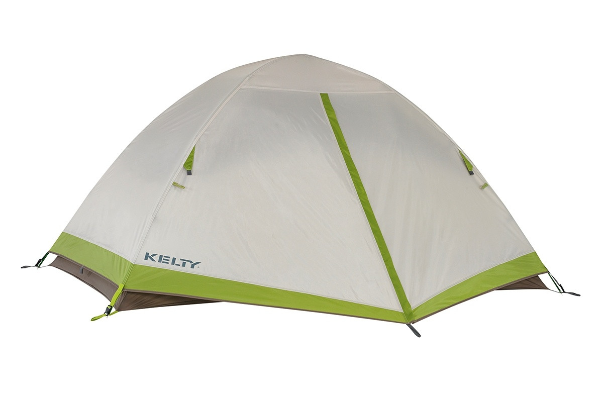Kelty Salida 2 person tent, shown with tan rain fly attached and fully closed