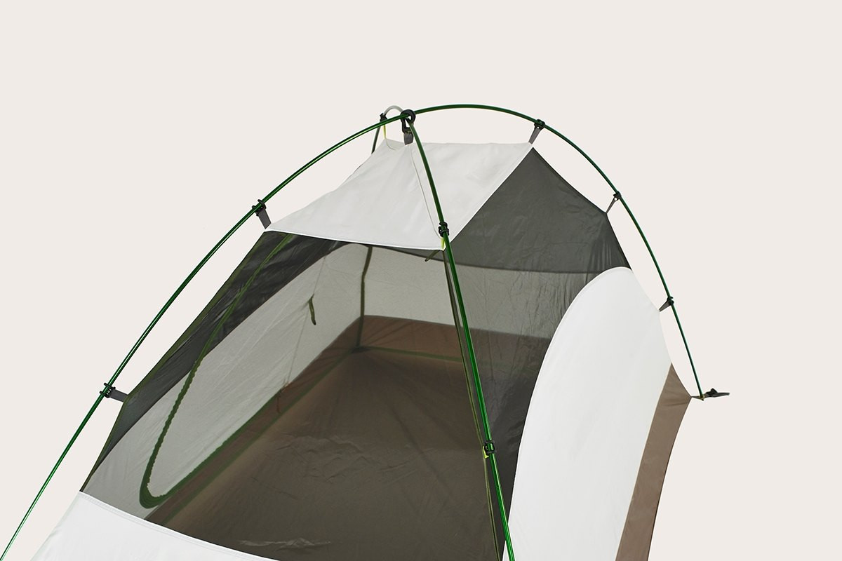 Close up of Kelty Salida 2 person tent, top view, showing black mesh and white fabric at top of tent