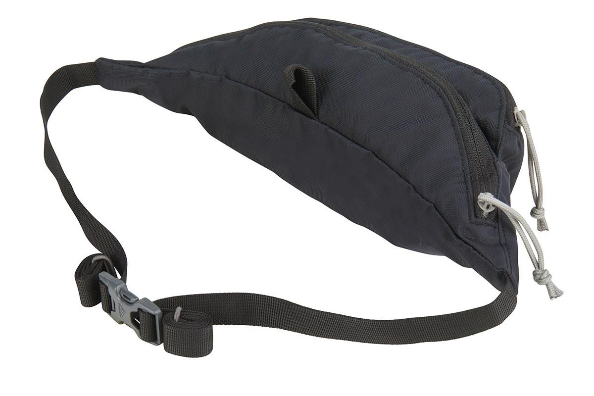 Kelty Warbler waist pack, black, rear view, buckled