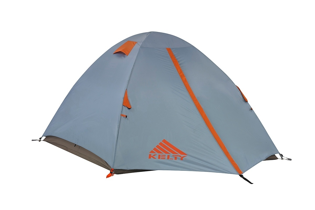 Kelty Outfitter Pro 3 person tent, white/tan, shown with gray rain fly attached and fully closed