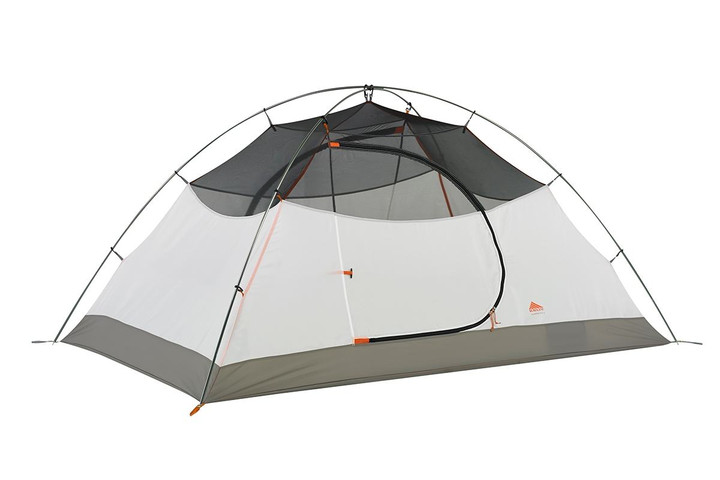 Kelty Outfitter Pro 2 person tent, white/tan, shown with rain fly removed
