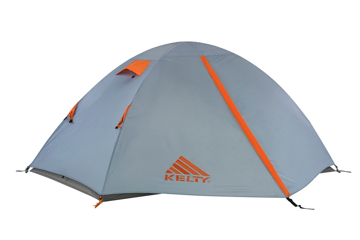 Kelty Outfitter Pro 2 person tent, white/tan, shown with gray rain fly attached and fully closed