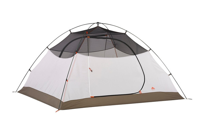 Kelty Outfitter Pro 4 person tent, white/tan, shown with rain fly removed