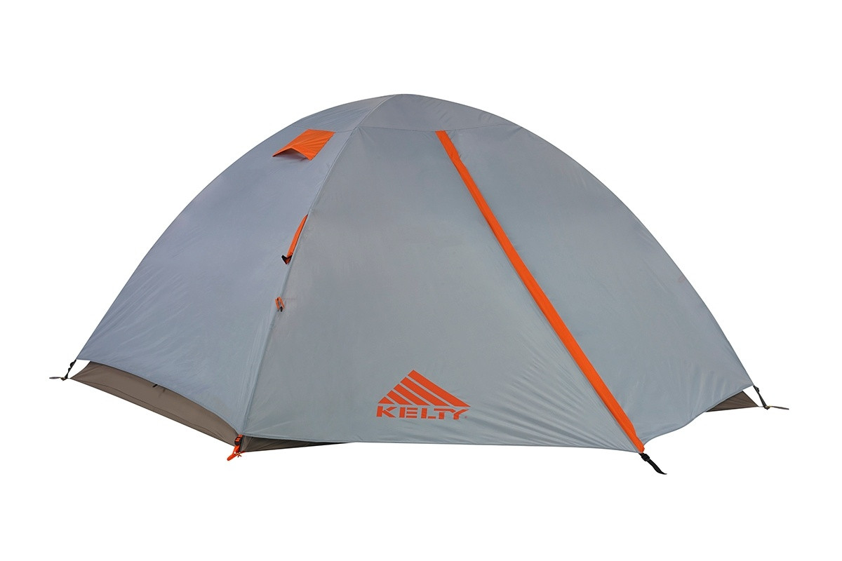 Kelty Outfitter Pro 4 person tent, white/tan, shown with gray rain fly attached and fully closed