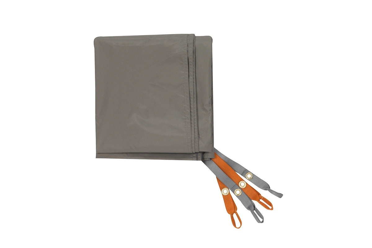Kelty Outfitter Pro 4 Footprint, tan, with orange and grey attachment points
