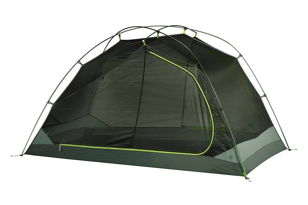Kelty TN2 2-person tent, green, shown with rain fly removed
