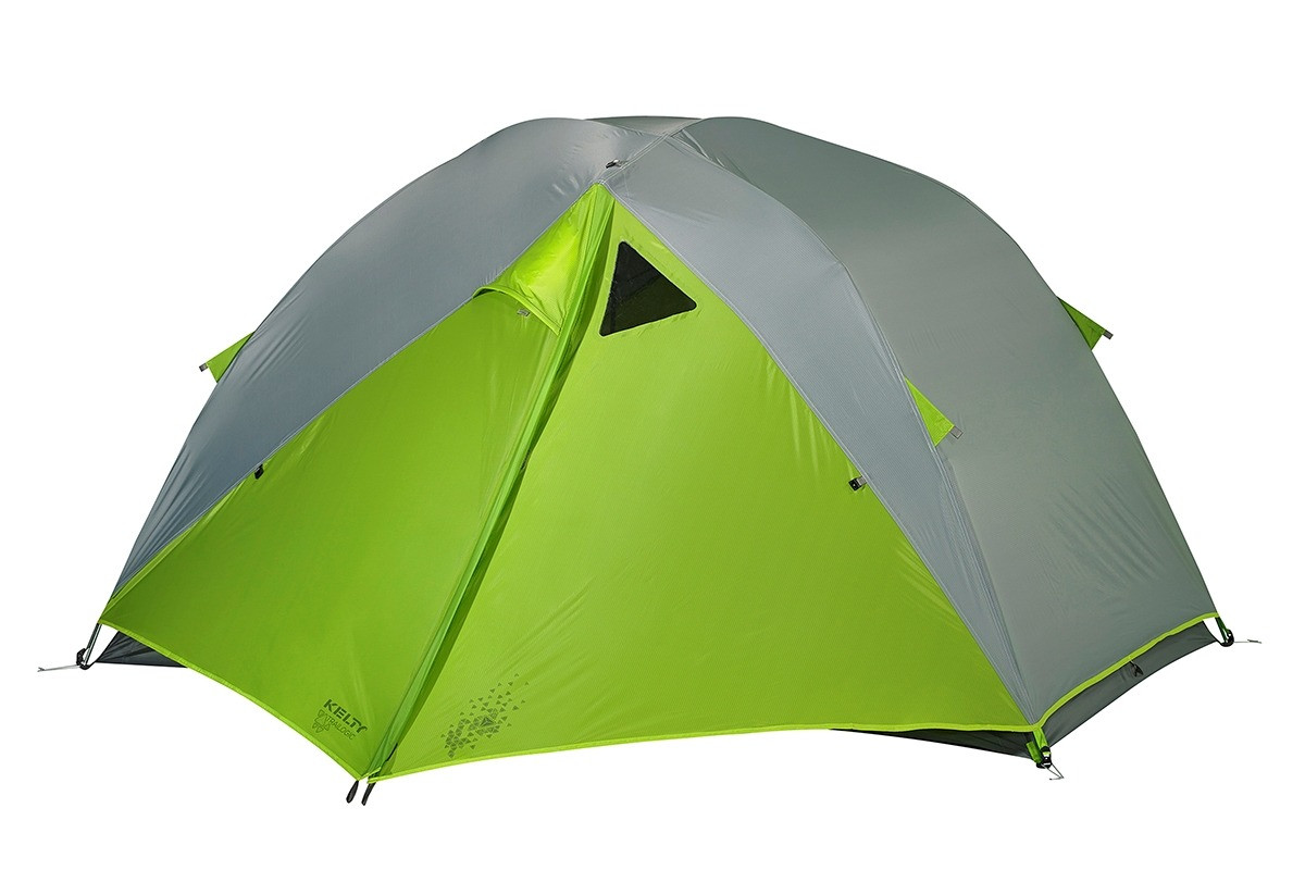Kelty TN2 2-person tent shown with green/gray rain fly attached and fully closed