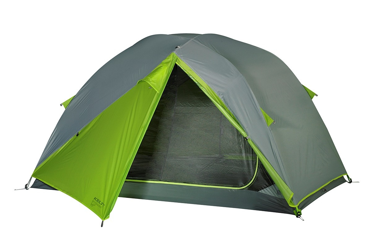 Kelty TN2 2-person tent shown with green/gray rain fly attached and doorway partially opened