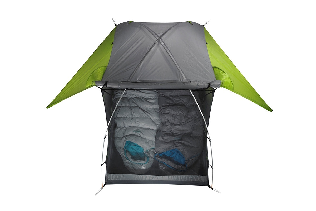 Kelty TN2 2-person tent, green, top view, showing rain fly rolled back to expose half of tent