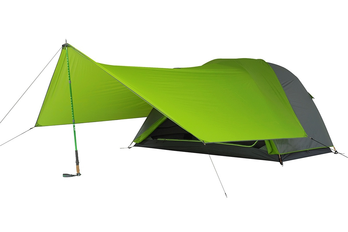Kelty TN2 2-person tent, green, with awning attached to front of tent