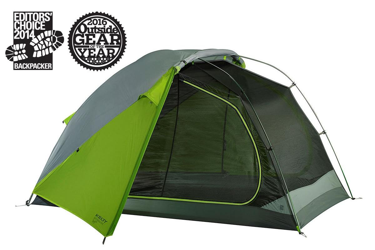 Kelty TN2 2-person tent, green, shown with rain fly attached and rolled back to expose half of tent