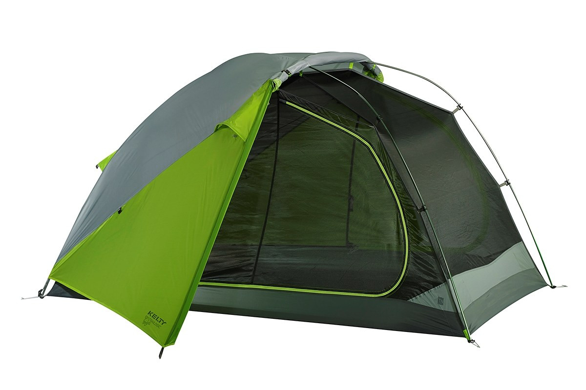 Kelty TN3 3-person tent, green, shown with rain fly attached and rolled back to expose half of tent