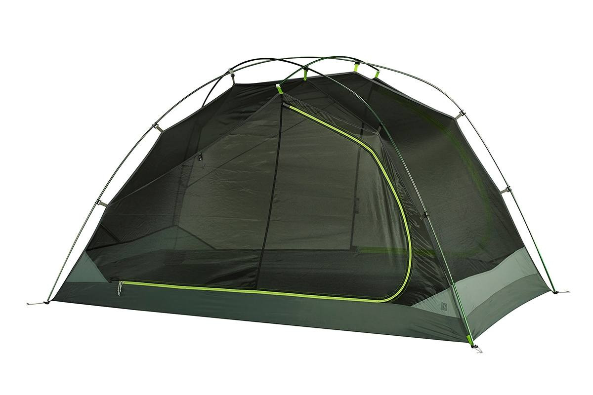 Kelty TN3 3-person tent, green, shown with rain fly removed