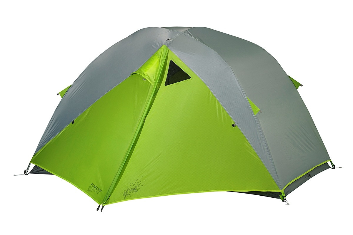 Kelty TN3 3-person tent shown with green/gray rain fly attached and fully closed