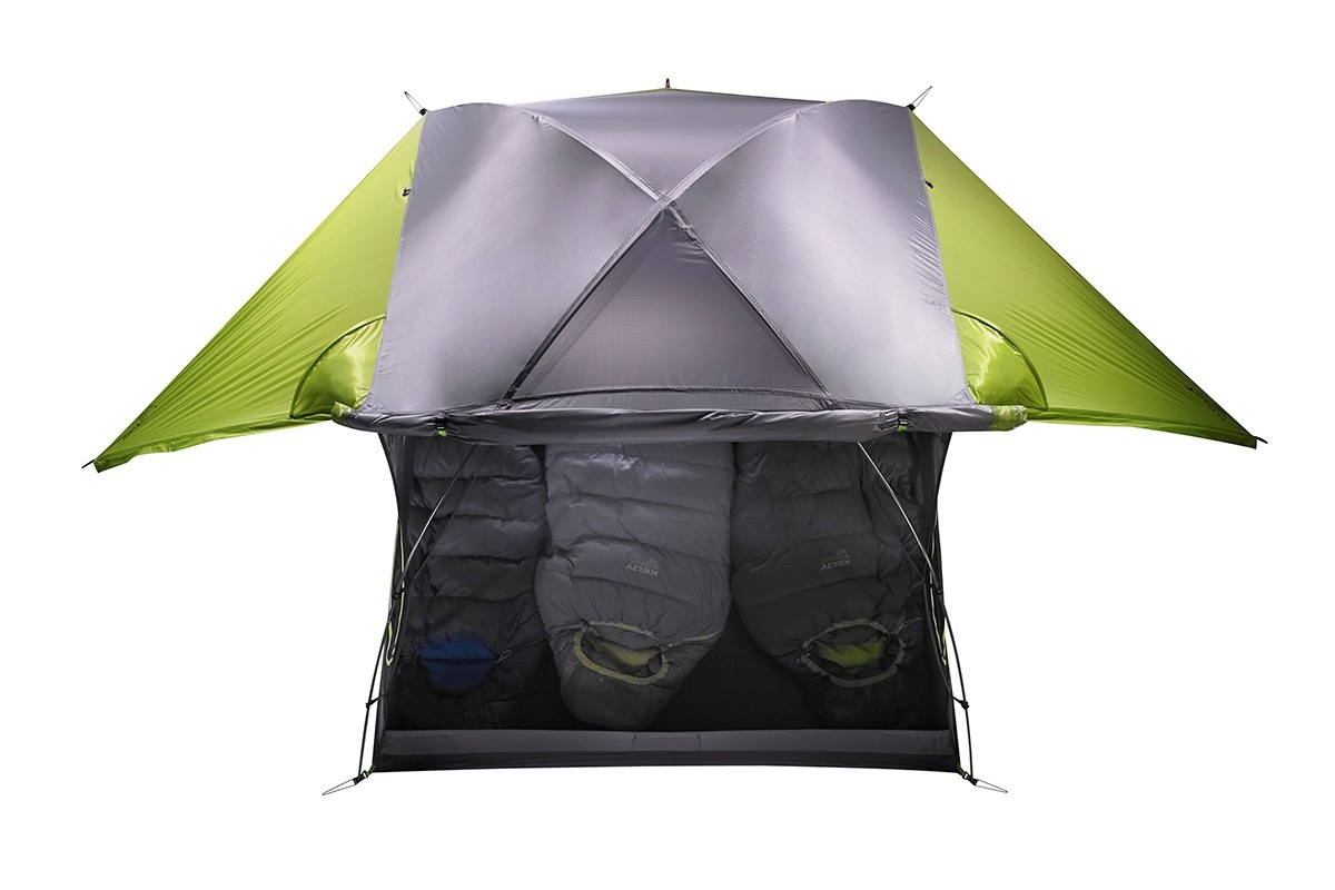 Kelty TN3 3-person tent, green, top view, showing rain fly rolled back to expose half of tent
