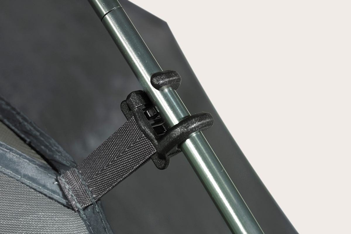 Close up of Kelty TN3 3-person tent, showing how body of tent attaches to tent pole with twist-style plastic clip