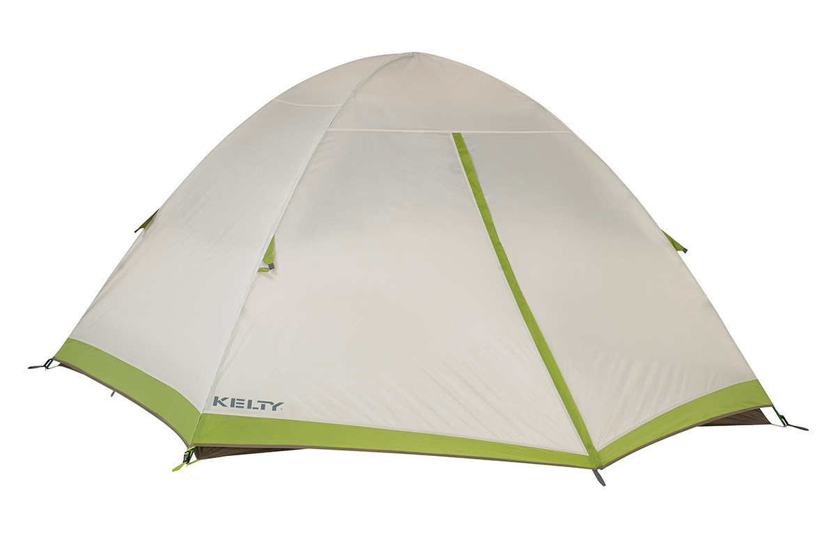 Kelty Salida 4 person tent, shown with tan rain fly attached and fully closed