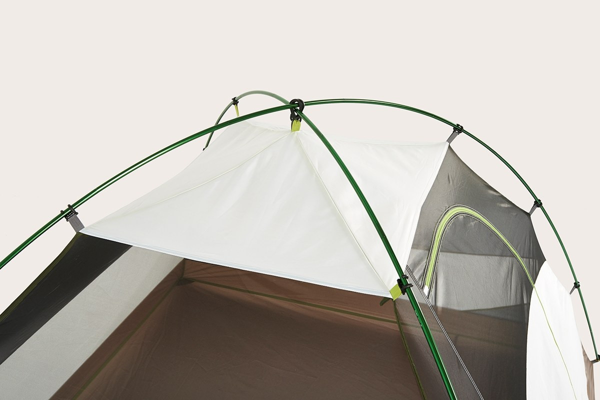 Close up of Kelty Salida 4 person tent, top view, showing black mesh and white fabric at top of tent