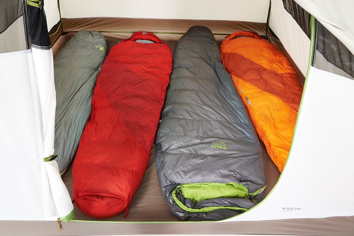 Close up of Kelty Salida 4 person tent, showing how 2 sleeping bags placed side-by-side inside the tent