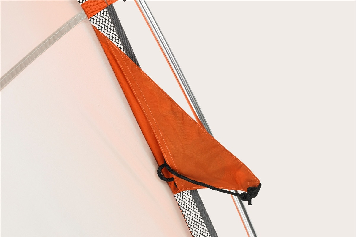 Close up of Kelty Shade Maker 2 sun shelter, showing how guyline can be stored in a triangular orange pocket attached to the body of shelter