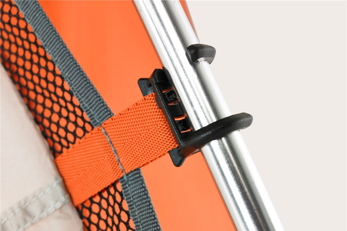 Close up of Kelty Shade Maker 2 sun shelter, showing how the body of shelter attaches to the pole with twist-style plastic clips