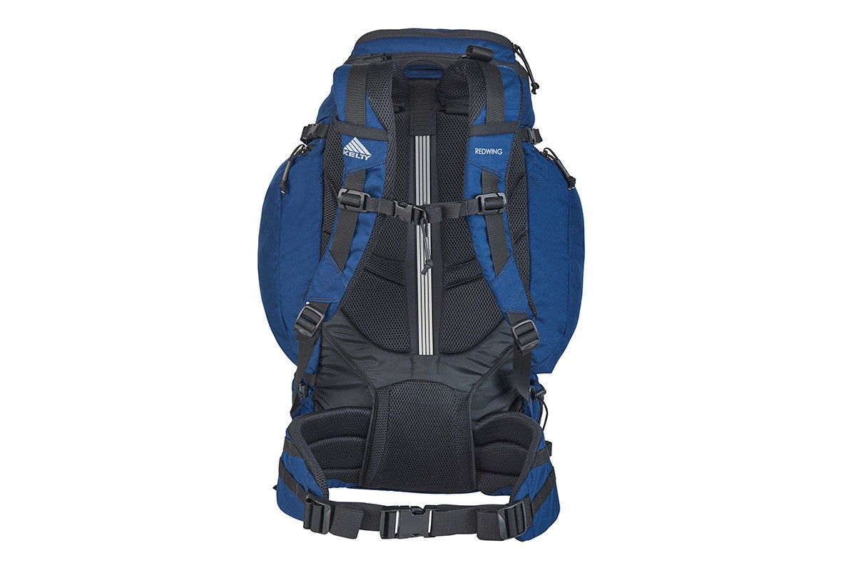Kelty Redwing 50 USA backpack, rear view, showing padded shoulder straps and waistbelt