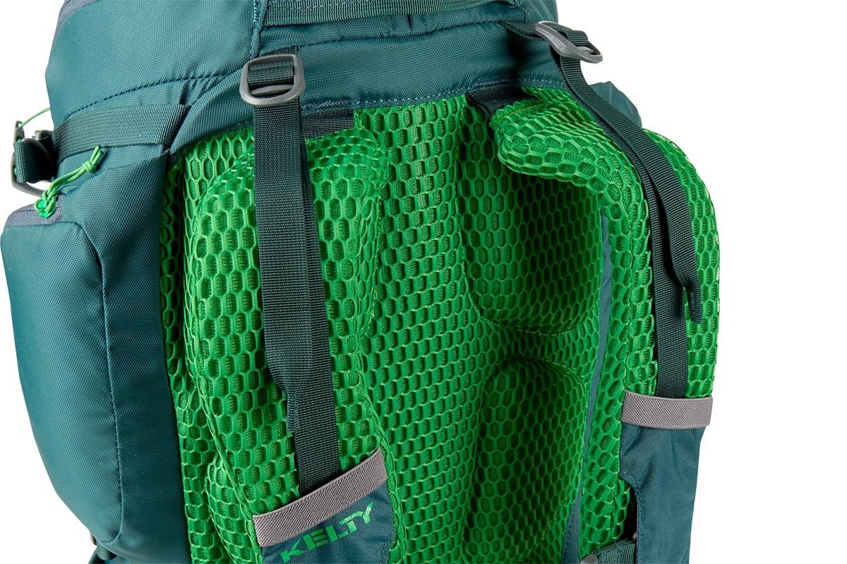 Close up of Kelty Redwing 32 backpack, showing padded mesh shoulder straps