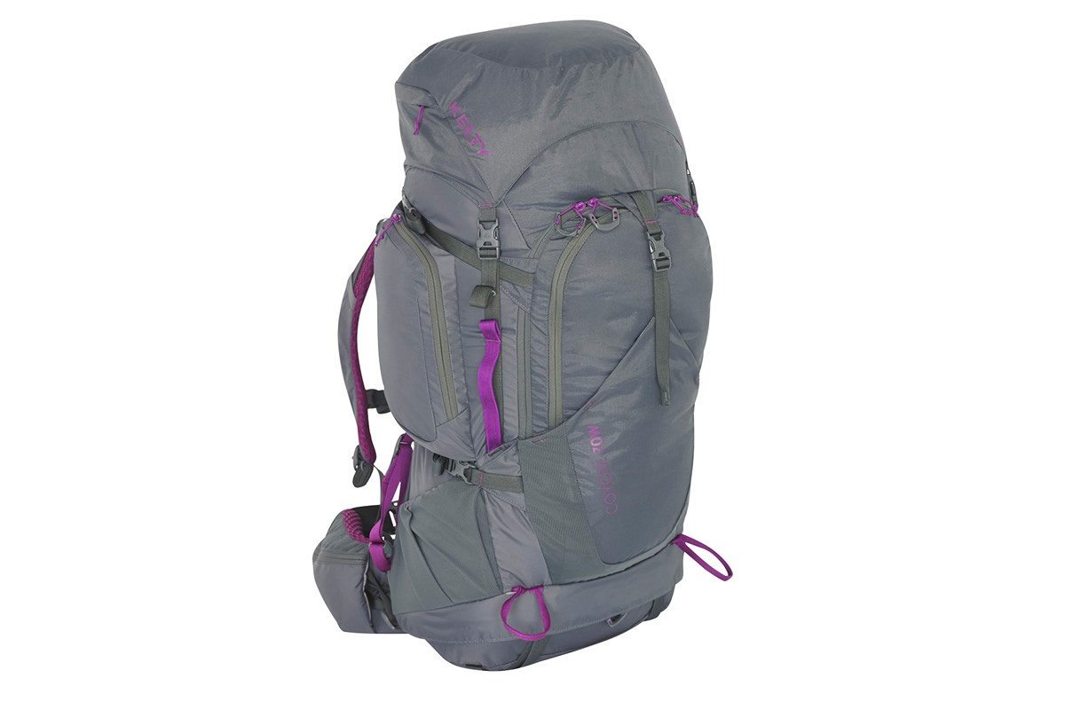 Women's Coyote 70 backpack, gray, front view