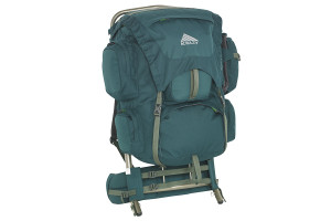 Kelty Yukon 48 external frame backpack, green, front view