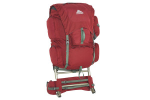 Kelty Trekker 65 external frame backpack, red, front view