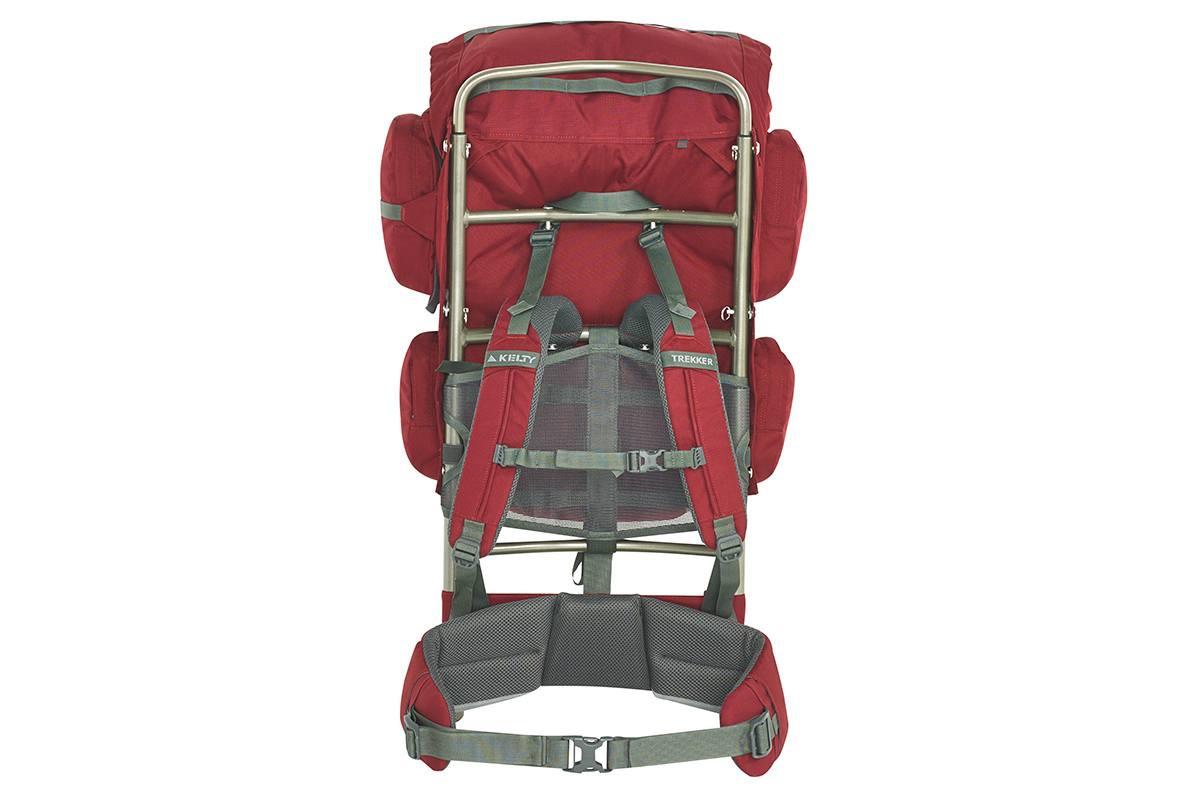 Kelty Trekker 65 external frame backpack, red, rear view