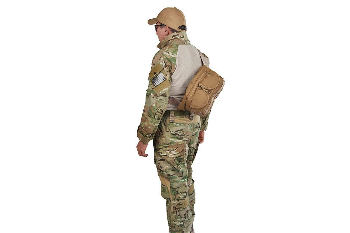 Soldier wearing lid from Kelty Falcon 4000 USA backpack on his back, sling-style