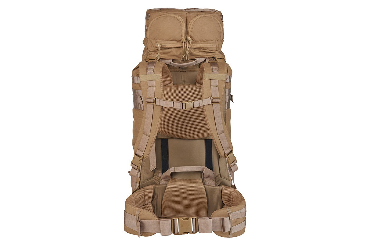 Kelty Falcon 4000 USA backpack, Canyon Brown, rear view showing padded shoulder straps and waistbelt