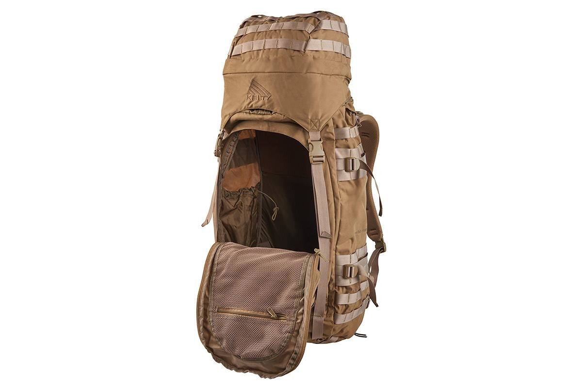 Kelty Falcon 4000 USA backpack, Canyon Brown, with front compartment unzipped to show interior of pack