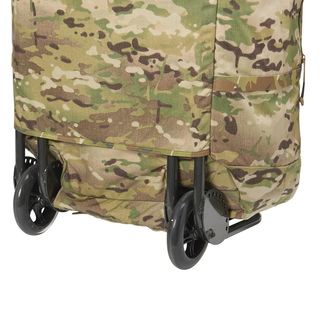 Kelty BRT USA rolling trunk,  multicam colorway, closeup of wheels