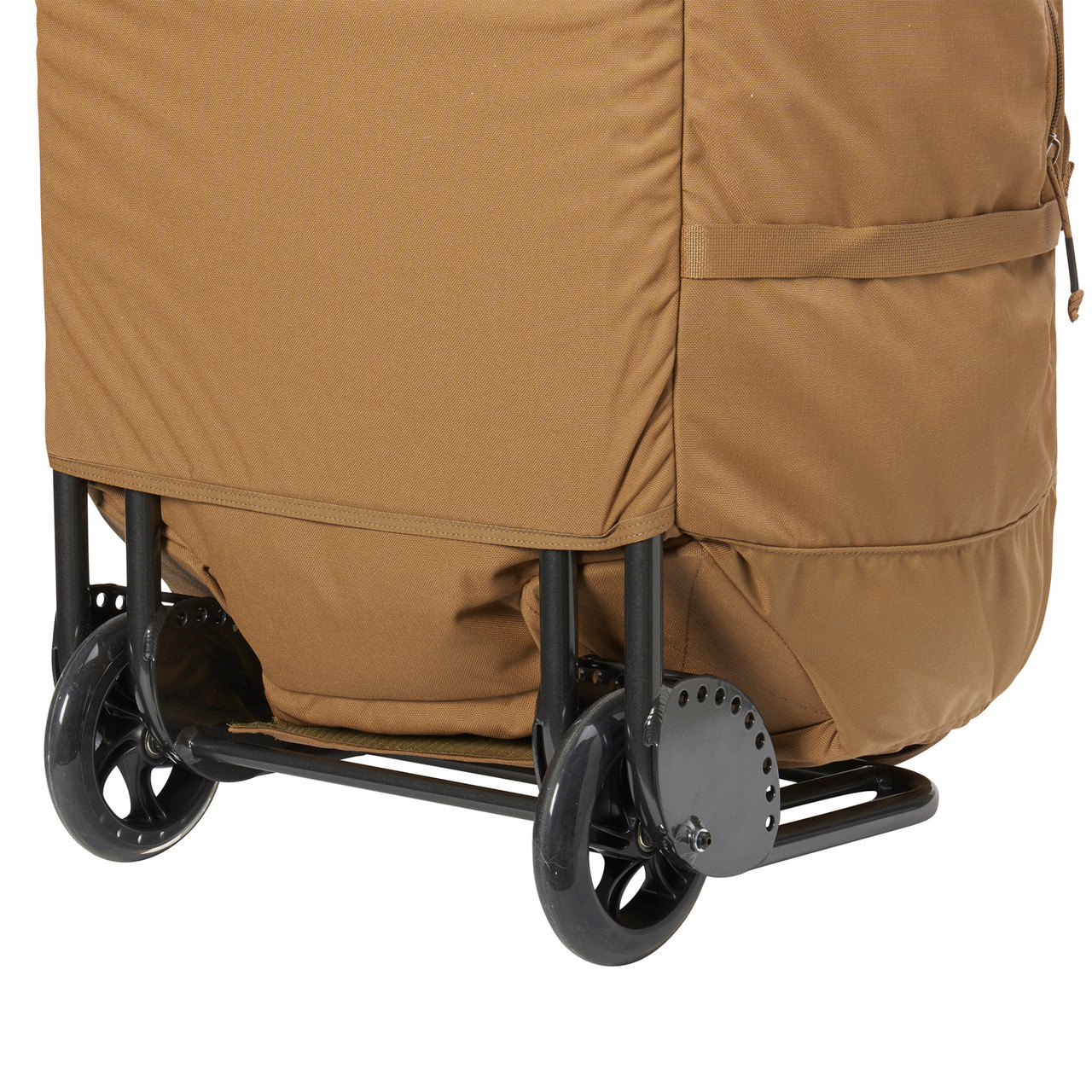 Kelty BRT USA rolling trunk,  coyote brown colorway, closeup of wheels