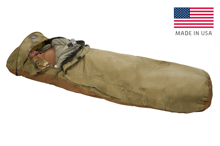Kelty VariCom Bivy USA, Coyote Brown, unzipped quarter length