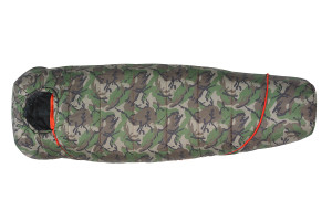 Kelty Tru.Comfort Kids 20 sleeping bag, Camo, shown fully zipped