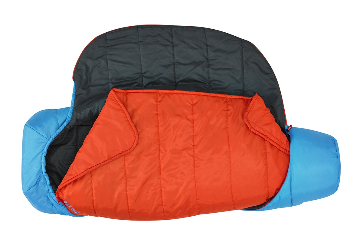 Kelty Tru.Comfort Kids 35, Paradise Blue, fully unzipped and opened, showing orange built-in blanket