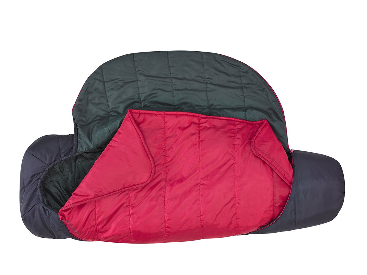 Kelty Tru.Comfort Kids 35, Black Cherry, fully unzipped and opened, showing pink built-in blanket