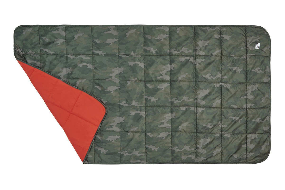 Kelty Bestie Blanket in Tonal Camo/Lava colorway, top view