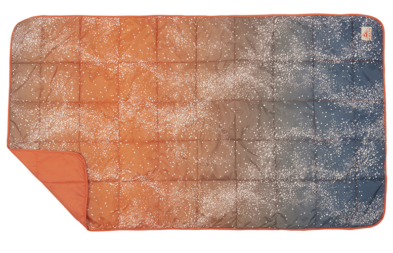 Kelty Bestie Blanket in Galaxy Rust/Reflecting Pond colorway, top view