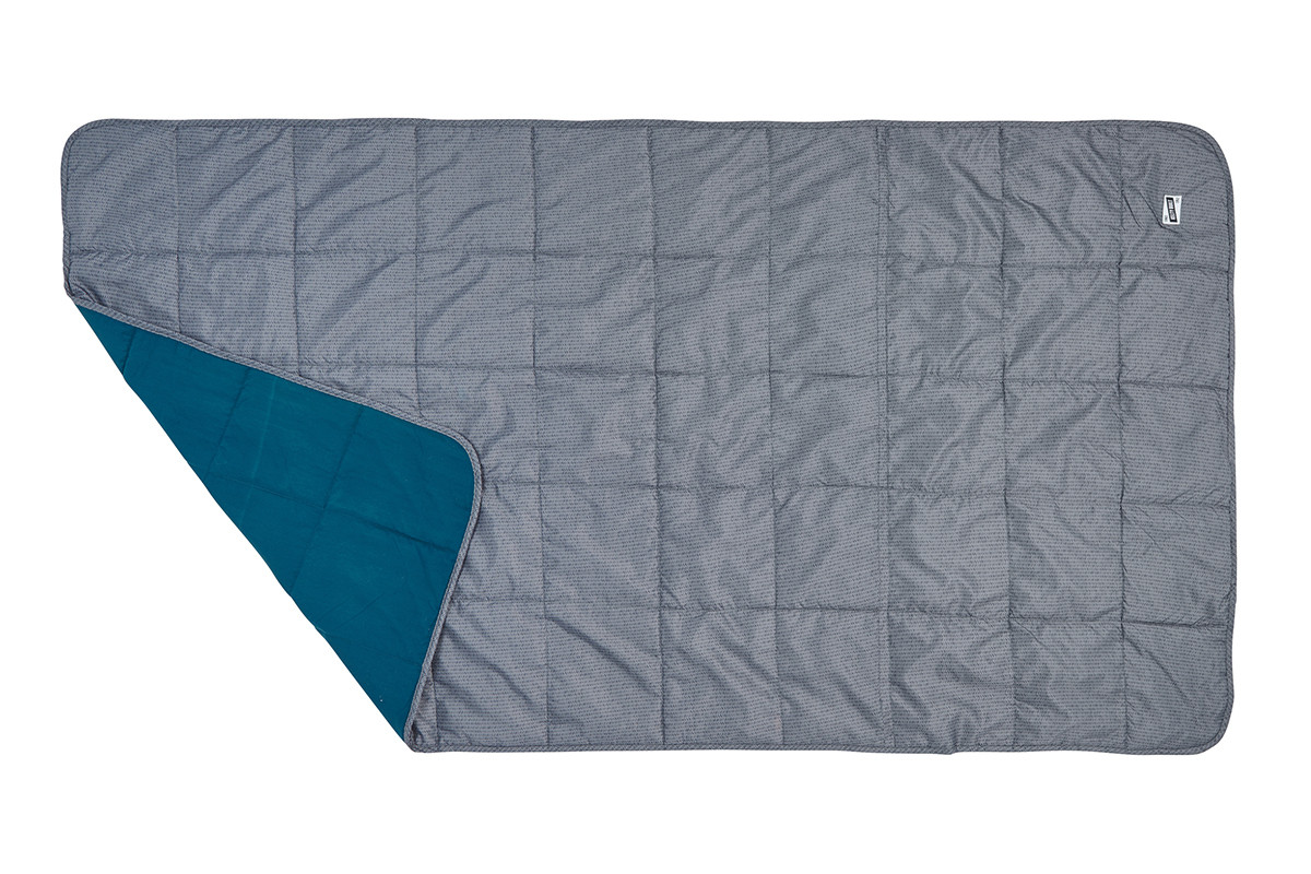 Kelty Bestie Blanket, Chevron/Deep Teal Colorway, top view