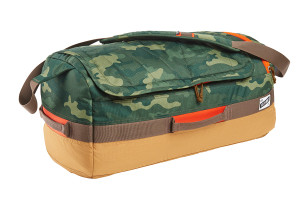 Kelty Dodger Duffel bag, Green Camo/Canyon Brown, shown at an angle