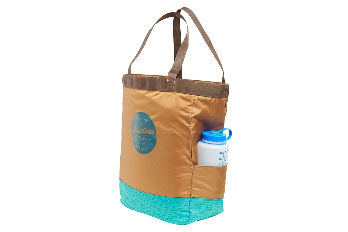 Kelty Totes Tote, Canyon Brown/Latigo Bay, side view, with water bottle in large side pocket